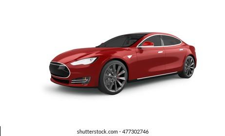 Electric Car 3D Rendering