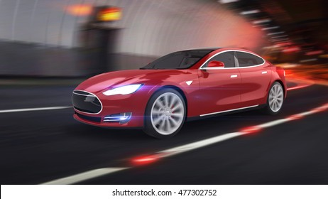 Electric Car 3D Rendering