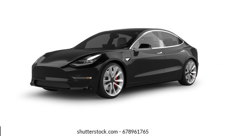 Electric Car 3D Rendering Isolated on White
