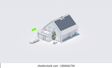 electric car with battery symbol charging battery at future home 3d illustration