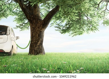 Electric car charg in a tree, 3d render illustration