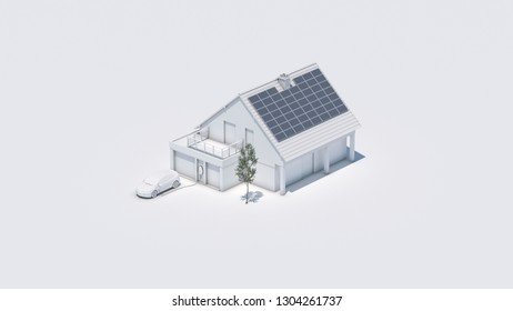 electric car charging battery at future home 3d illustration