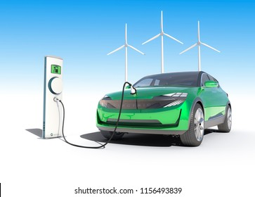 Electric car charging clean sustainable wind power from wind turbines with white blue gradient background 3D illustration