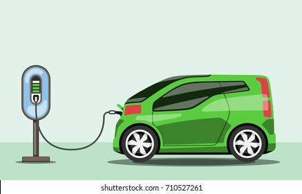 Electric car charging at ev power station. Electric vehicle getting energy. Side view. Flat style. Electromobility concept. Raster version.