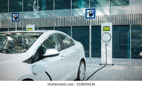 electric car charging at public charger in city 3d illustration