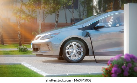 electric car charging side view 3d illustration