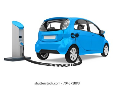 Electric Car in Charging Station. 3D rendering