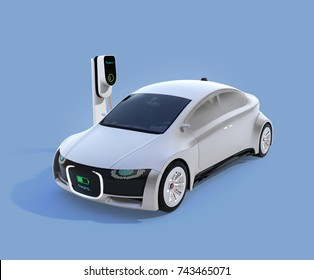 Electric car charging in charging station. Front grille with digital monitor display charging progress. 3D rendering image.