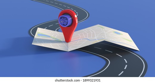 Electric car charging stations location. Map marker with electric vehicle plug on highway, blue background. EV charger position concept. 3d illustration