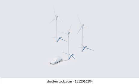 electric car charging at wind power plant gray background 3d illustration