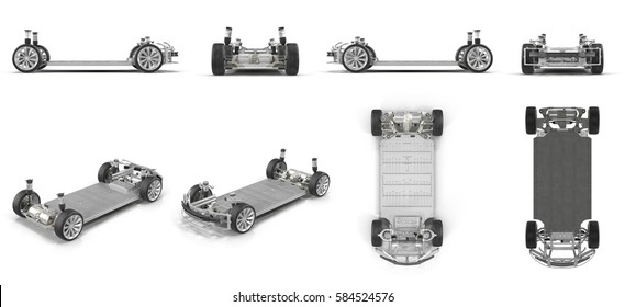 Electric car Chassis renders set from different angles on a white. 3D illustration