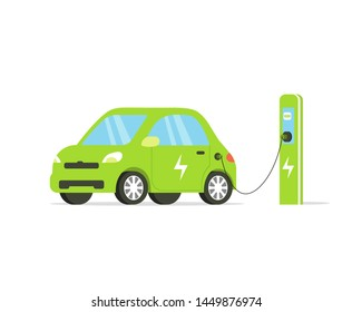 Electric car flat illustration. Electric car on charging station. illustration isolated on white background.