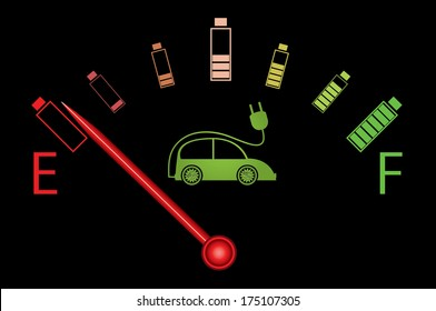 Electric car fuel gauge with batteries and electric car. Creative illustration on black background.