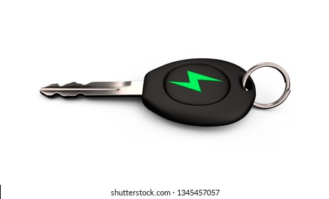 Electric car key with green lightning bolt sign, horizontal, side view, isolated on white background. 3D illustration.