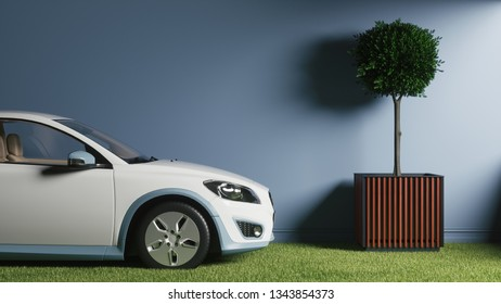 Electric car on the green grass. Car standing in a field of grass - ecological transport concept. 3d illustration