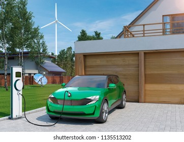 electric car SUV charging at home in front of modern low energy suburban house 3d illustration