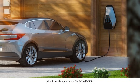electric car suv parked in front of home modern low energy suburban house 3d illustration