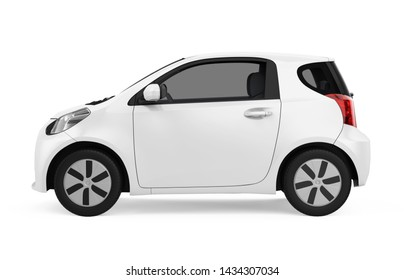 Electric Car Vehicle Isolated (side view). 3D rendering
