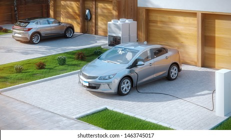 electric cars parked in front of home modern low energy suburban house 3d illustration