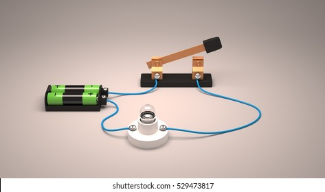 Electric circuit showing open switch using a light bulb and batteries.3D Render.
