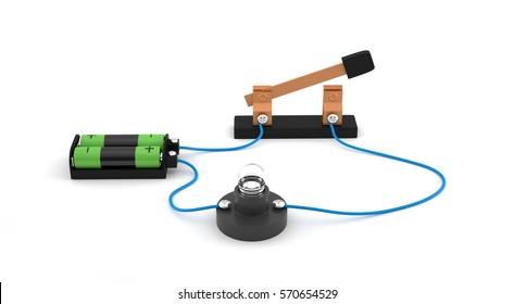 Electric circuit showing open switch using a light bulb and batteries white background.