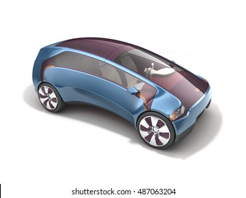 Electric concept car on solar battery. 3d rendering