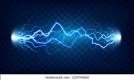 Electric discharge shocked effect for design. Power electrical energy lightning spark or electricity effects realistic isolated blitz  illustration on checkered background