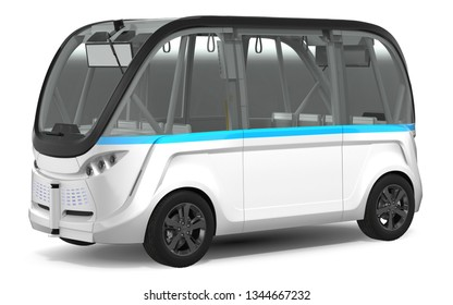 Electric Driverless Bus 3D illustration on white background