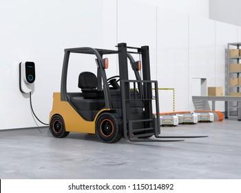 Electric forklift, logistics robots charging in charging station. 3D rendering image.