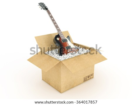electric guitar cardboard box stock illustration 364017857