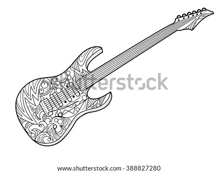 Electric Guitar Coloring Book Adults Raster Stock Illustration ...
