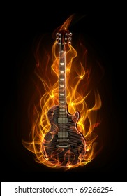 Electric guitar in fire and flames