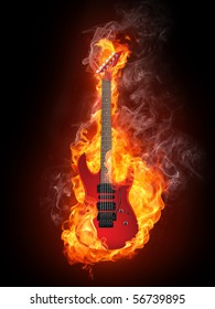 Electric guitar in fire flames isolated on black background.