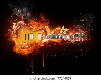 Electric guitar in fire. Illustration of the electric guitar enveloped in flames isolated on black background. High resolution electric guitar in fire image for a guitar concert poster or banner.