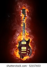 Electric Guitar in fire Isolated on Black Background. Computer Graphics.