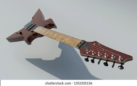 Electric guitar Neck view in grunge style Old rock guitar with steel bridge and sharp dirty body Musical instrument like a thrash hard metal alternative music On gray gradient background 3d render