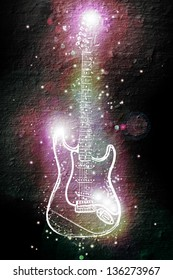electric guitar in neon spots of light