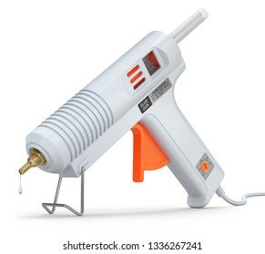 Electric hot glue gun with a glue sticks on white background - 3D illustration