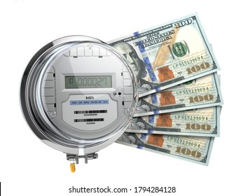 Electric meter with dollars. Electricity consumption, cost of utilities and saving concept. 3d illustration