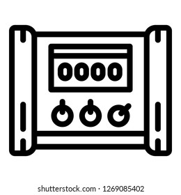 Electric microcontroller icon. Outline electric microcontroller icon for web design isolated on white background