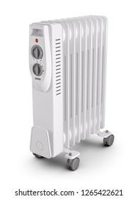 Electric oil filled heater. 3d render