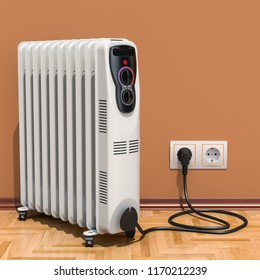 Electric oil heater, oil-filled radiator in interior, 3D rendering