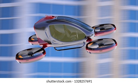 Electric Passenger Drone flying in front of buildings. This is a 3D model and doesn't exist in real life. 3D illustration