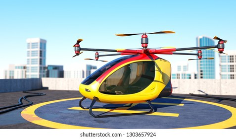 Electric Passenger Drone staying on the top of a building. This is a 3D model and doesn't exist in real life. 3D illustration