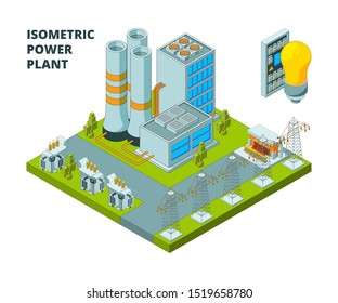 Electric power factory. Industrial electricity plant or station energy buildings 3d isometric pictures