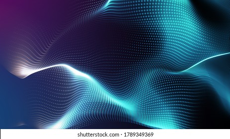 Electric power light energy line wave fabric motion blur, big cloud data online digital world technology background, 3D futuristic iot neon vibrant light abstract metaverse cyber space background