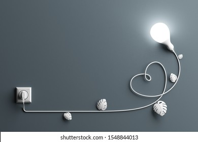 Electric power technology education and learning concept. leaves ivy climber crawler white bright light bulb shine grey background shape plant plug wire nature and heart. copy space. 3D Illustration.