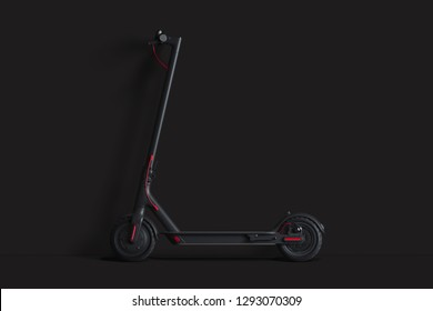 Electric scooter isolated on black background. eco transport. 3d rendering