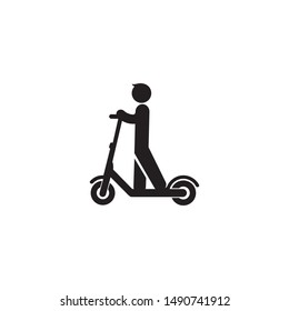 Electric scooter person riding e-scooter black icon glyph illustration