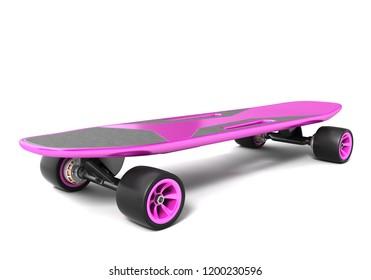 Electric skateboard on white. 3D illustration